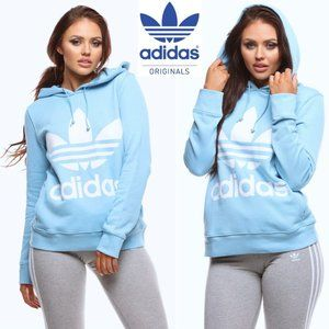 ADIDAS Trefoil hoodie light blue with logo size S